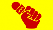 An illustration of a news microphone in a clenched fist (the thumb of which is styled as a dove)